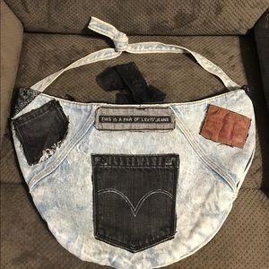 Levis Denim Jeans Pocket Hobo Crossbody Handbag-